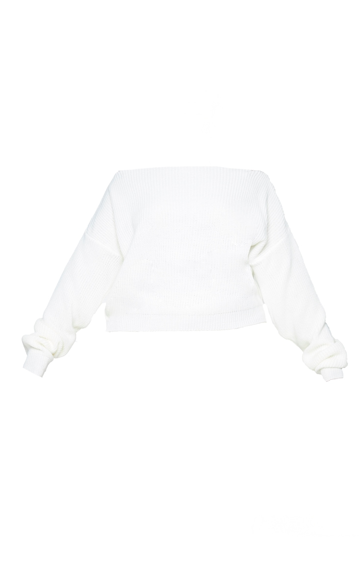 Plus Cream Slash Neck Crop Knitted Sweater 5
