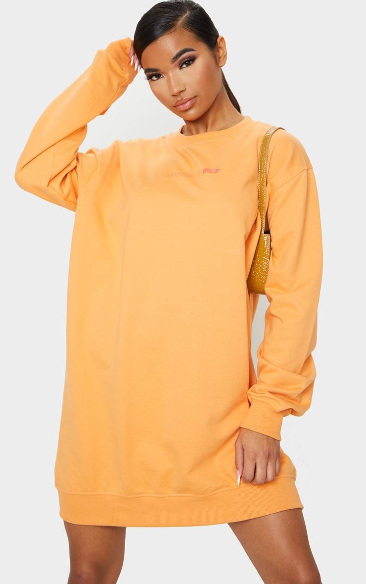 PRETTYLITTLETHING Orange Official Slogan Back Print Long Sleeve Sweater Dress 2