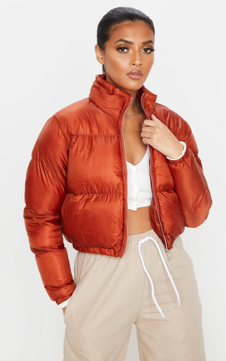 Rust Cropped Bubble Puffer Jacket 1