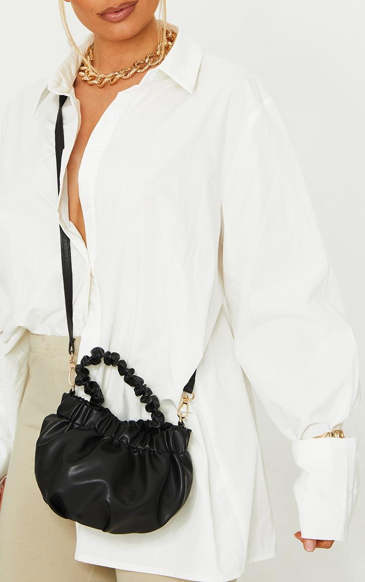 Black Ruched Mini Handbag 2