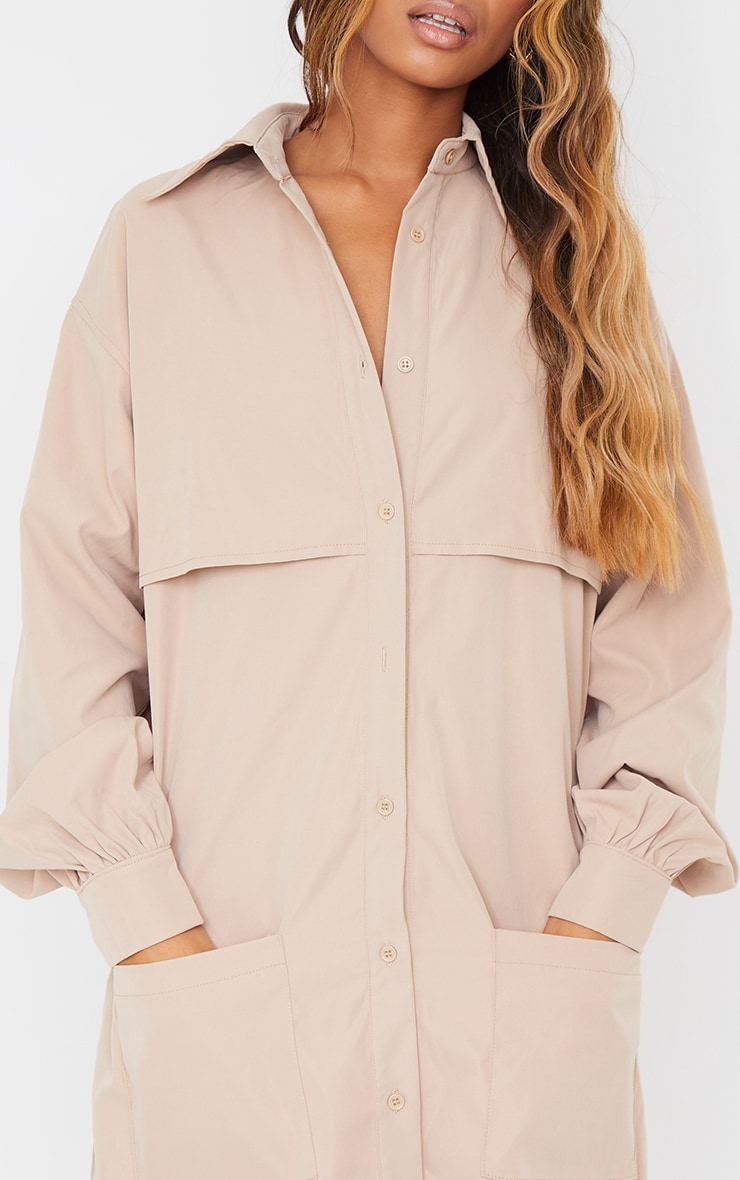 Stone Woven Overlay Pocket Detail Shirt Dress 4