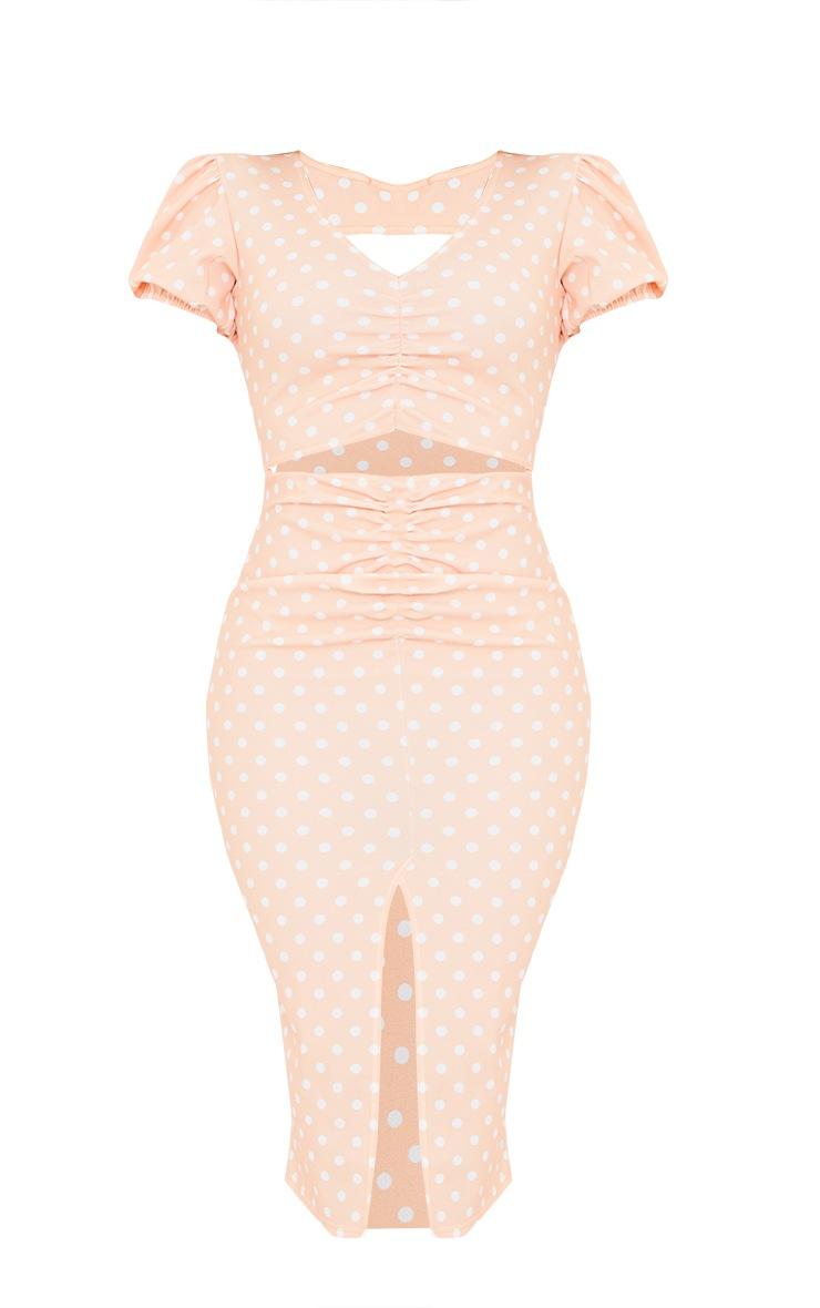 Tangerine Polka Dot Puff Sleeve Cut Out Ruched Midi Dress 5