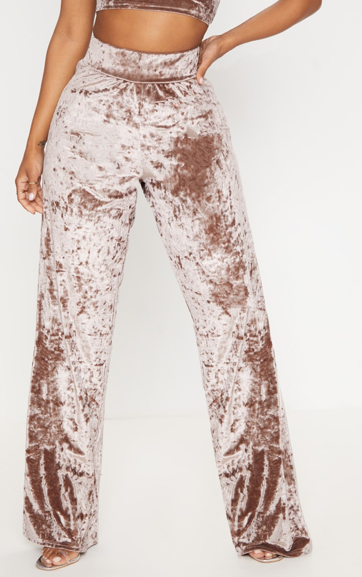 Shape Mocha Crushed Velvet Extreme Wide Leg Trousers 2