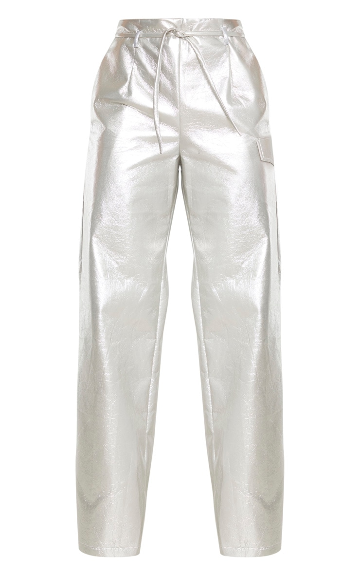 Silver Cracked Faux Leather Pocket Detail Wide Leg Trouser 3