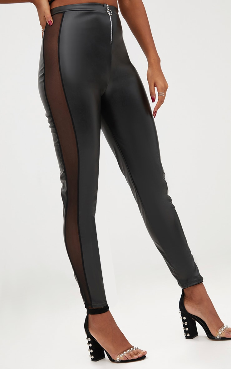 Black Faux Leather Mesh Panel Skinny Trousers 5