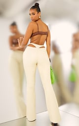 Cream Faux Leather Thong Back Flare Pants 1