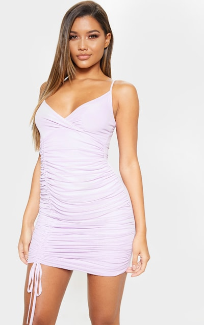 ea7f4707c14 Lilac Strappy Mesh Ruched Side Bodycon Dress