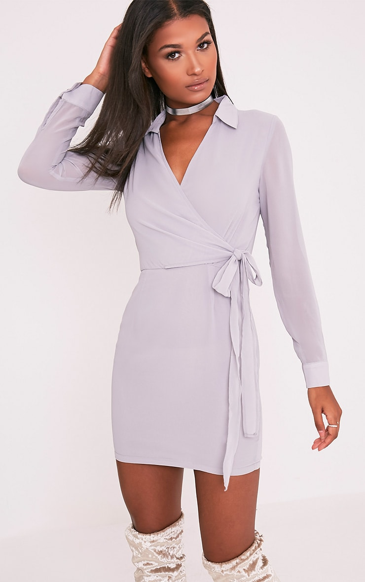 Dory Ice Grey Tie Waist Chiffon Shift Dress 1
