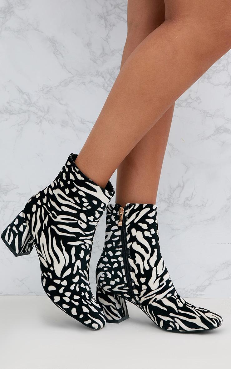 Black Zebra Printed Velvet Ankle Boots 1
