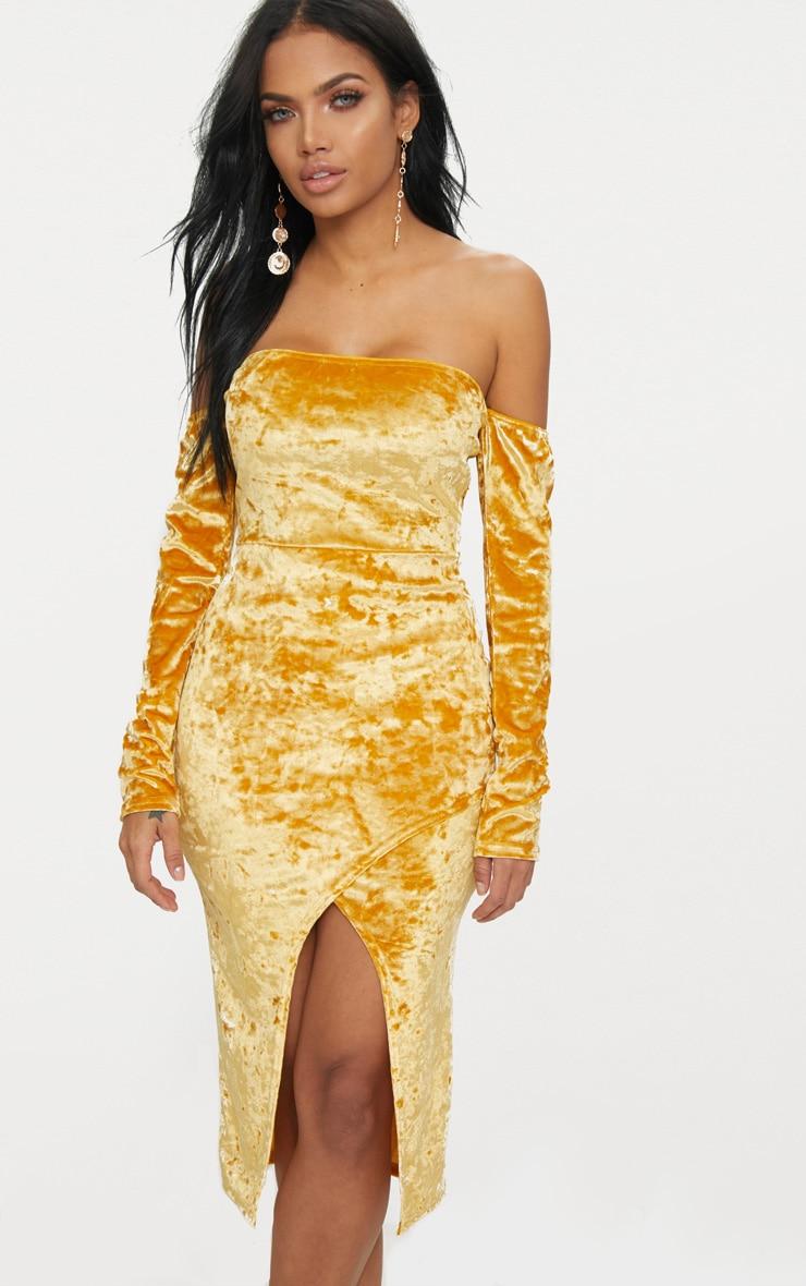 Mustard Velvet Bardot Long Sleeve Wrap Detail Midi Dress 1