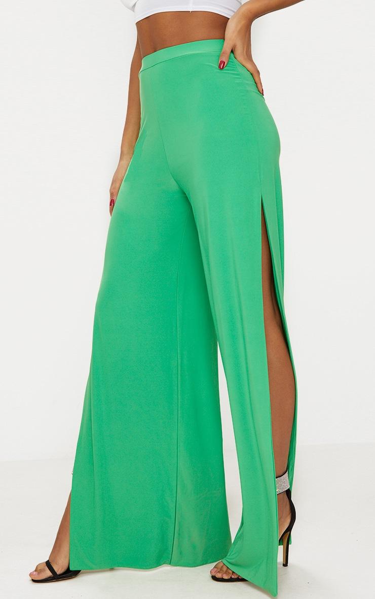 Bright Green Side Split Slinky Trousers 2