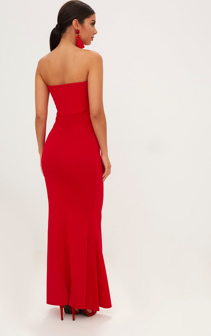 Red Bandeau Frill Hem Maxi Dress 2