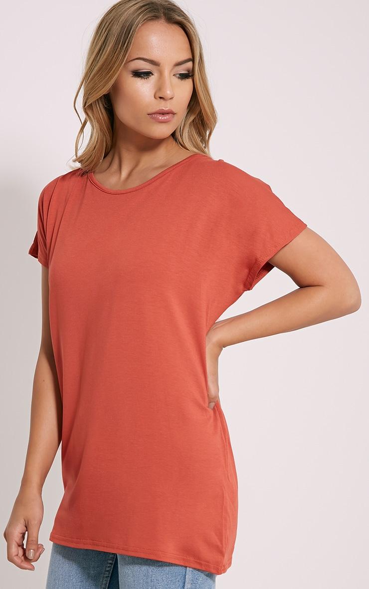 Basic Rust Oversized Round Neck T-Shirt 4