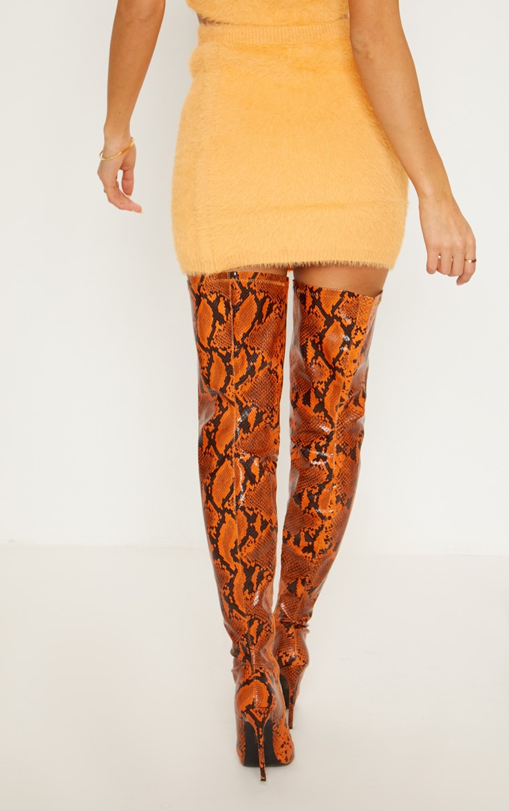 Orange Eyelash Knit Skirt  3