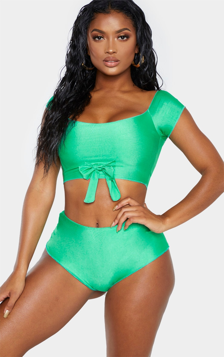 Shape Bright Green Bardot Tie Front Bikini Top 1