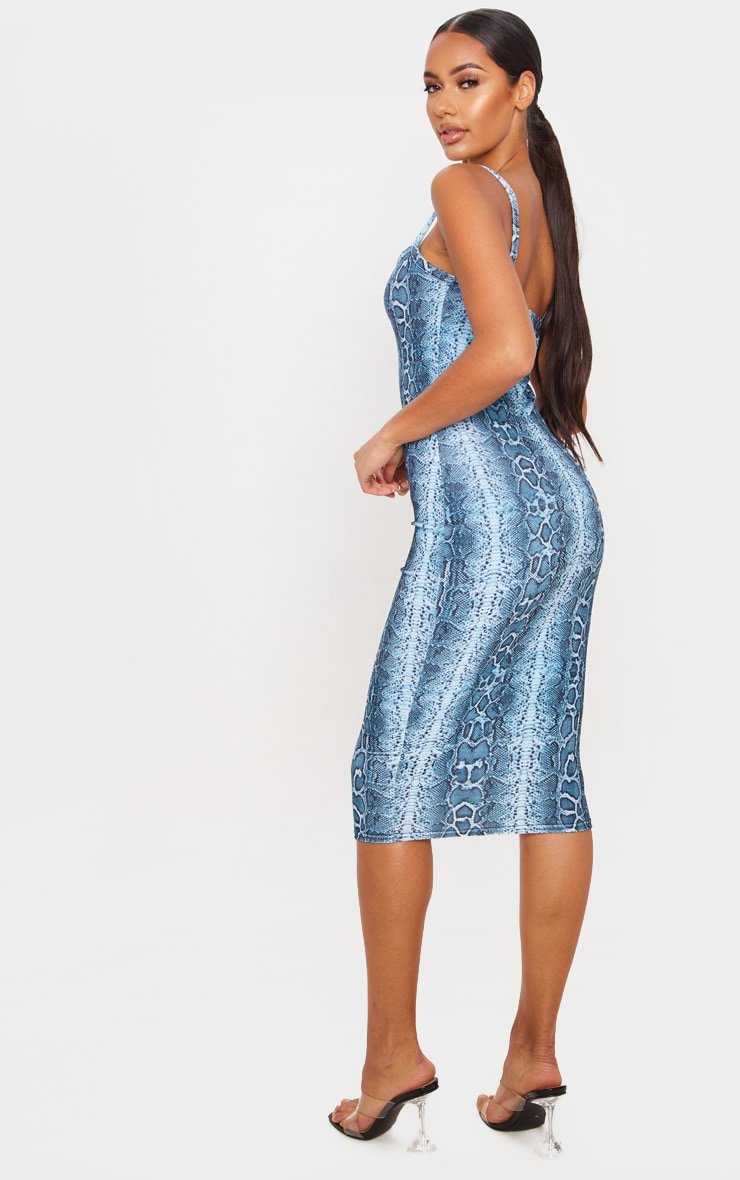 Blue Snake Print Velvet Strappy Midi Dress 2