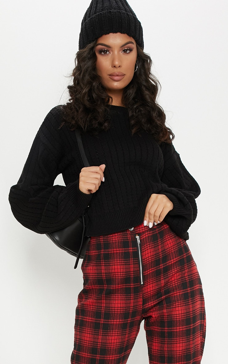 Black Ribbed Balloon Sleeve Cropped Sweater  1