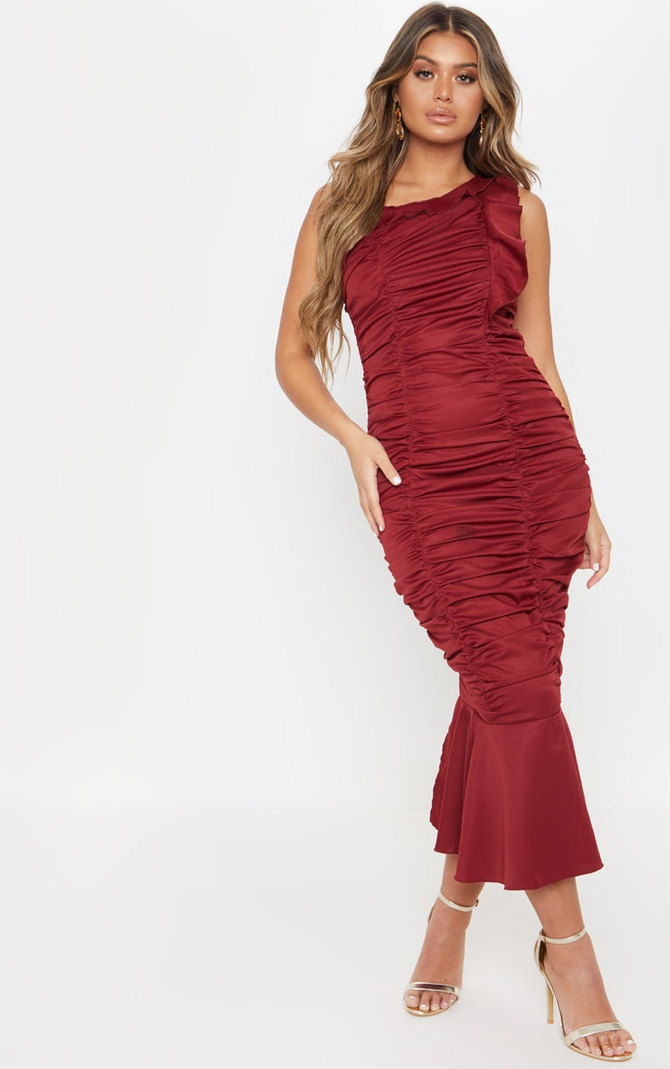 Burgundy One Shoulder Ruched Fishtail Midi Dress by Prettylittlething