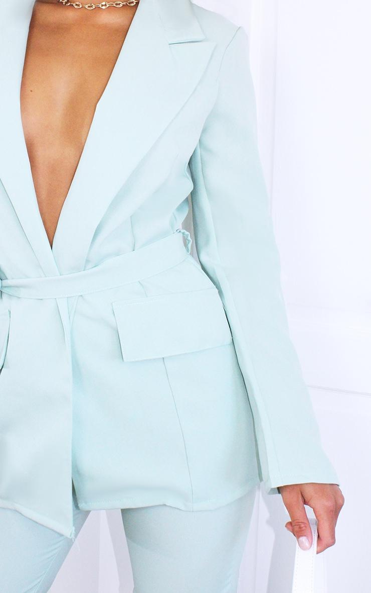Petite Sage Green Cargo Detail Tie Blazer 4