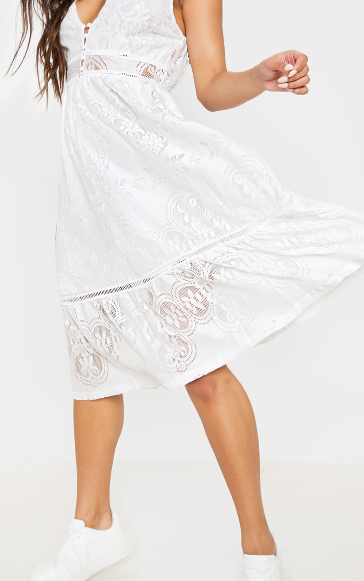 White Lace Button Through Midi Dress 5