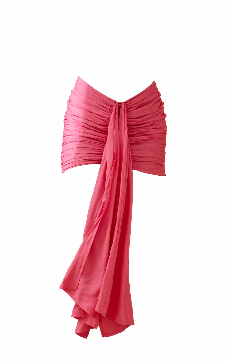 Hot pink Ruched Drape Front  Mini Skirt 7