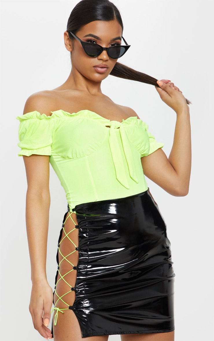 Black Vinyl Neon Lace Up Detail Mini Skirt  1