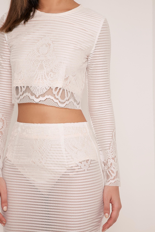 Robin White Striped Lace Crop Top 6
