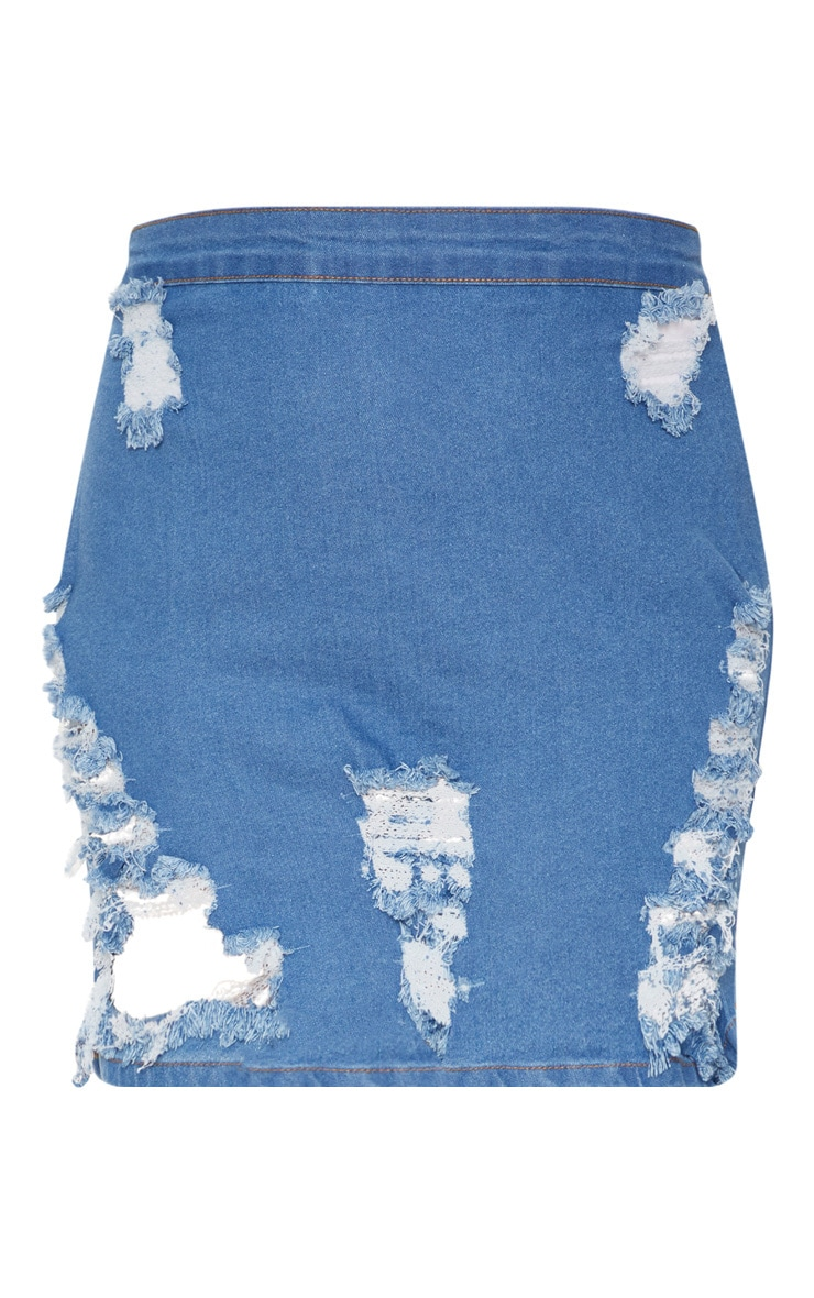 Plus Mid Wash Distressed Denim Mini Skirt 3