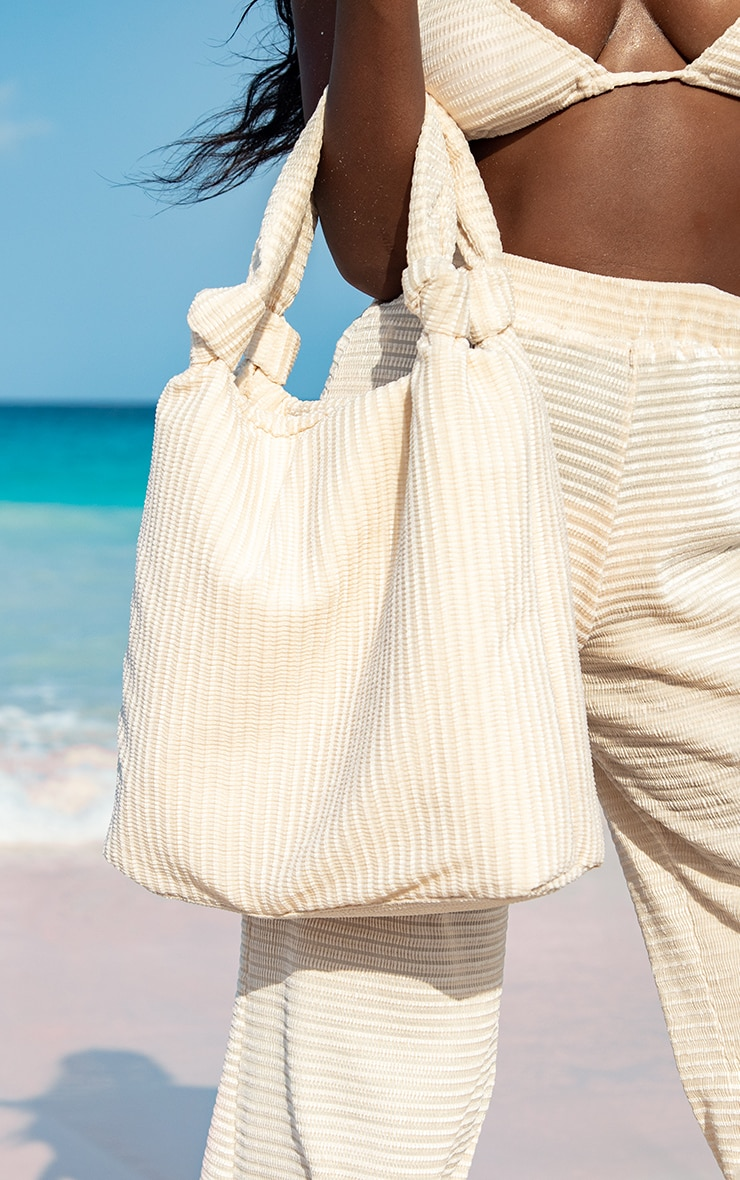 Cream Ribbed Oversized Tote Bag 1
