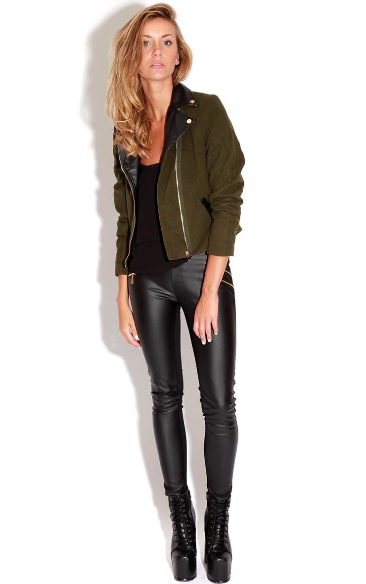 Jessica Khaki Biker Jacket 3