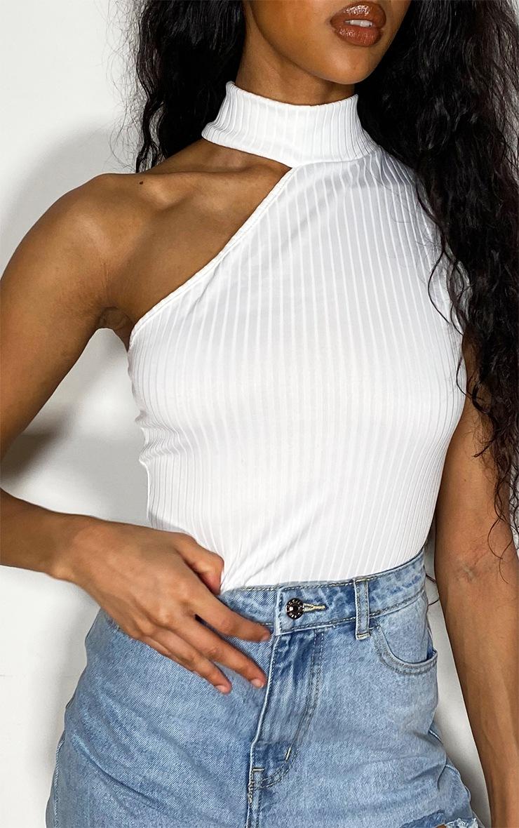 White Rib High Asymmetric Neck Bodysuit 4
