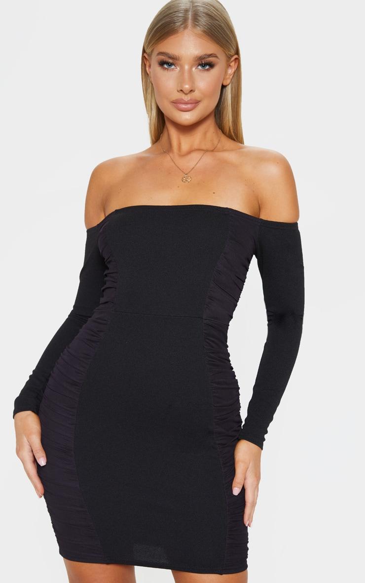 Black Bardot Ruched Side Panel Bodycon Dress 1