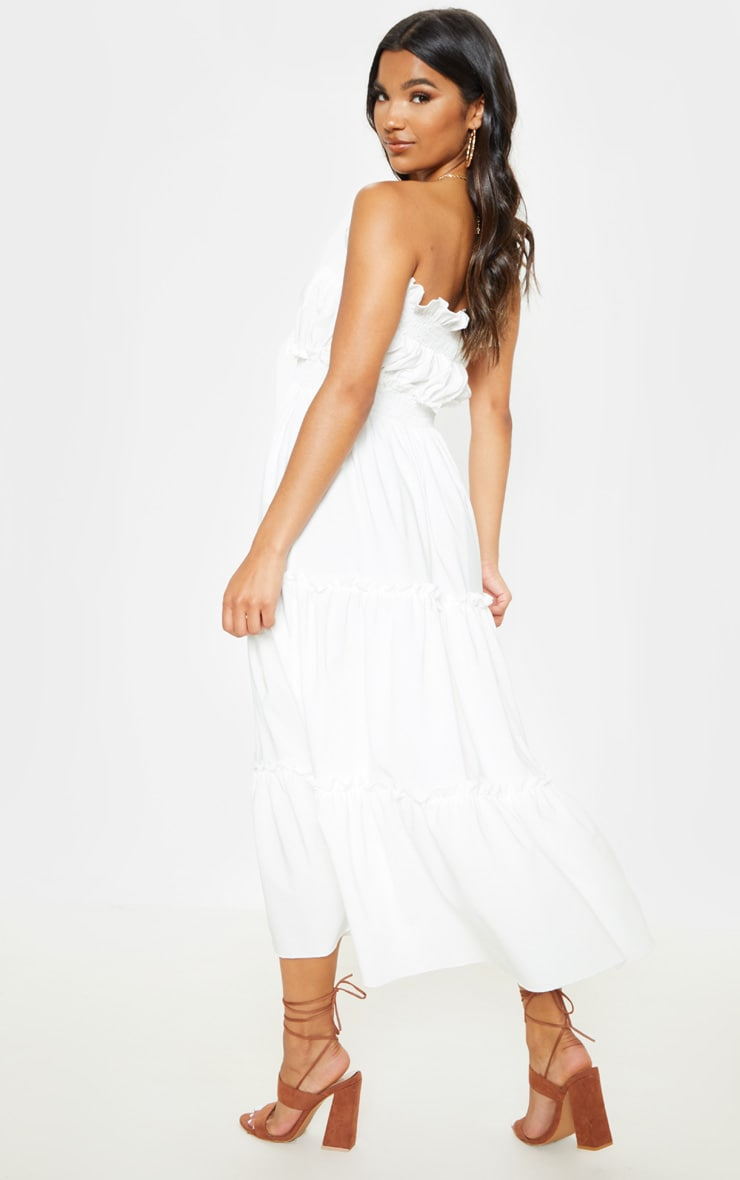 White Shirred Frill Tiered Bandeau Maxi Dress 2