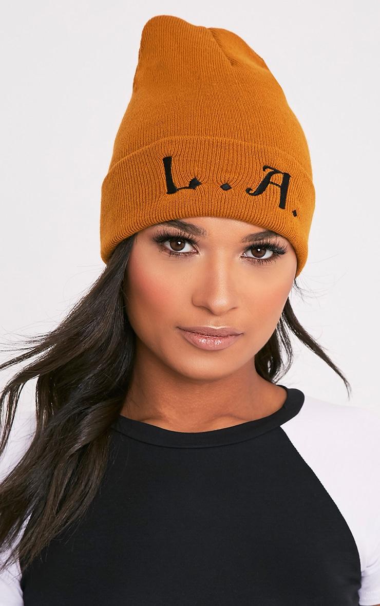 L.A. Slogan Mustard Beanie Hat 1