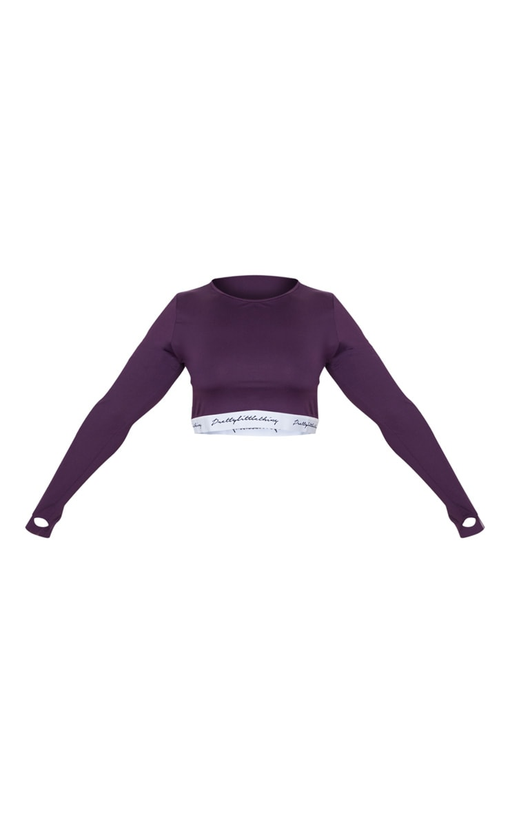 PRETTYLITTLETHING Plus Aubergine  Band Long Sleeve Crop Top 3