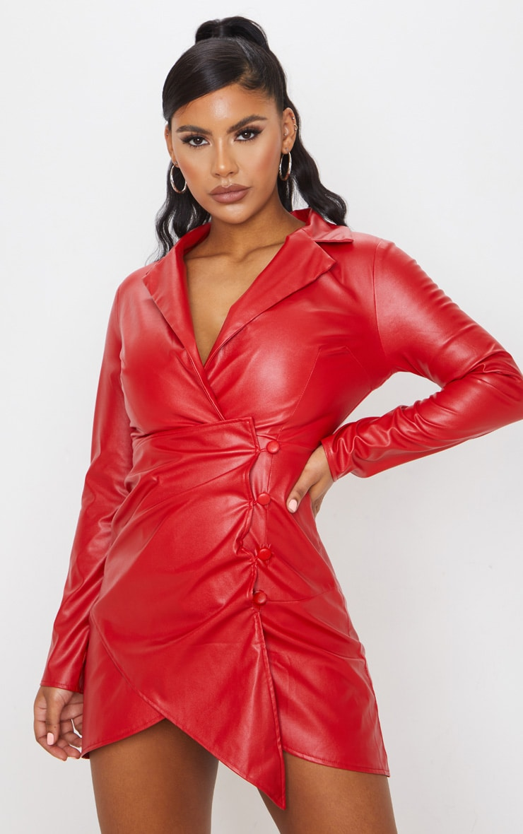 Red Faux Leather Long Sleeve Button Up Detail Bodycon Dress 1