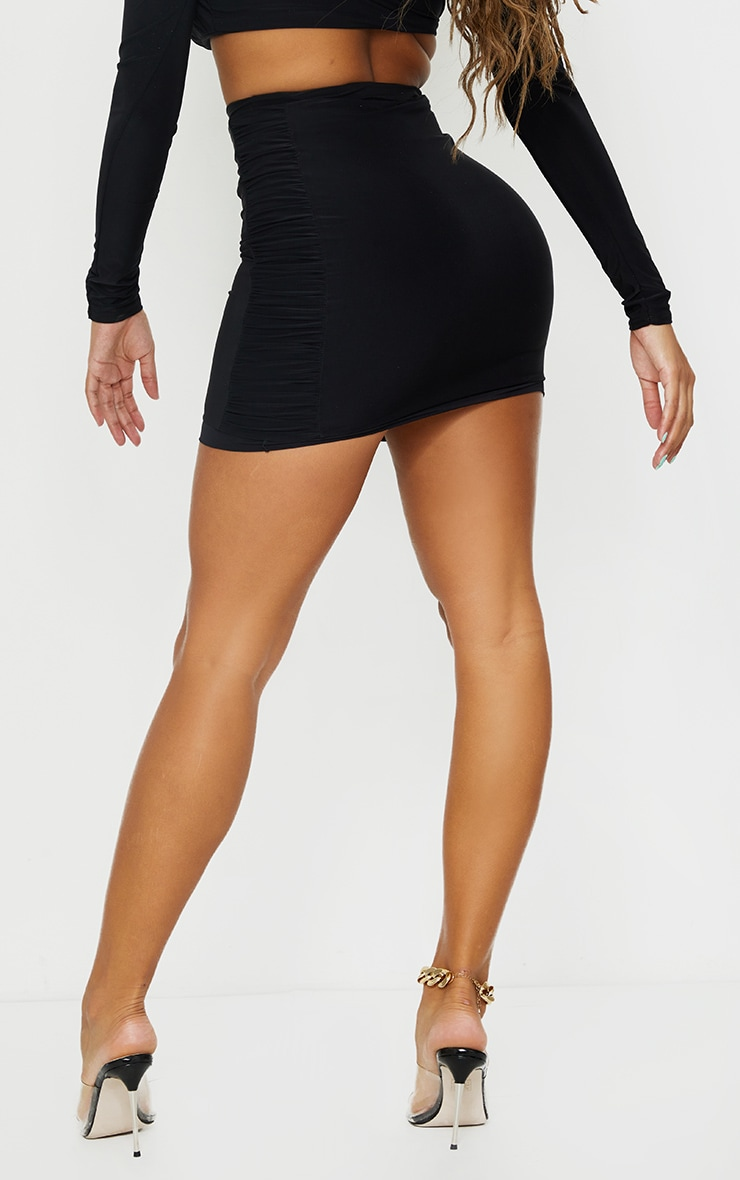 Shape Black Slinky Extreme Ruched Side Bodycon Skirt 3