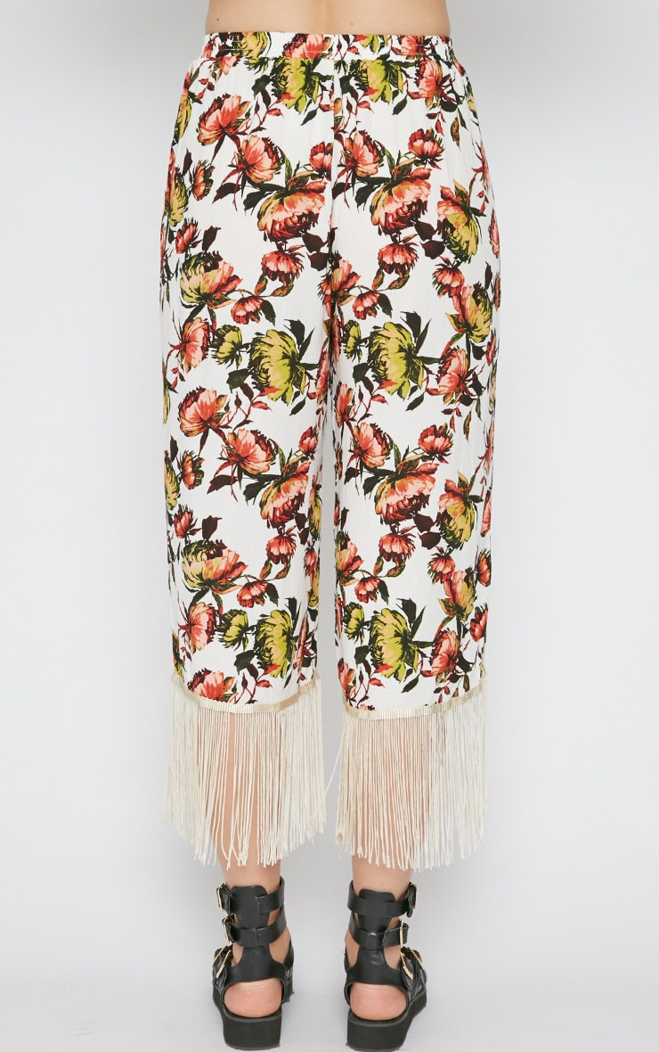 Tyra White Floral Print Tassel Trousers  2