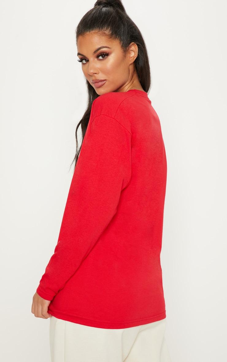 Red Holiday Armadillo Printed Long Sleeve T Shirt 2