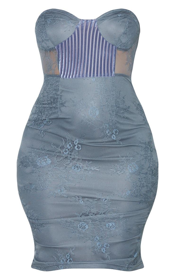 Charcoal Blue Lace Bandeau Velvet Insert Midi Dress 3