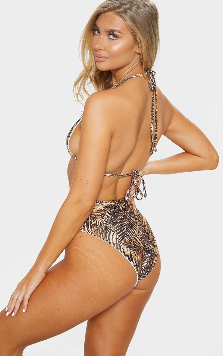 Brown Leaf Triangle Bikini Top 2