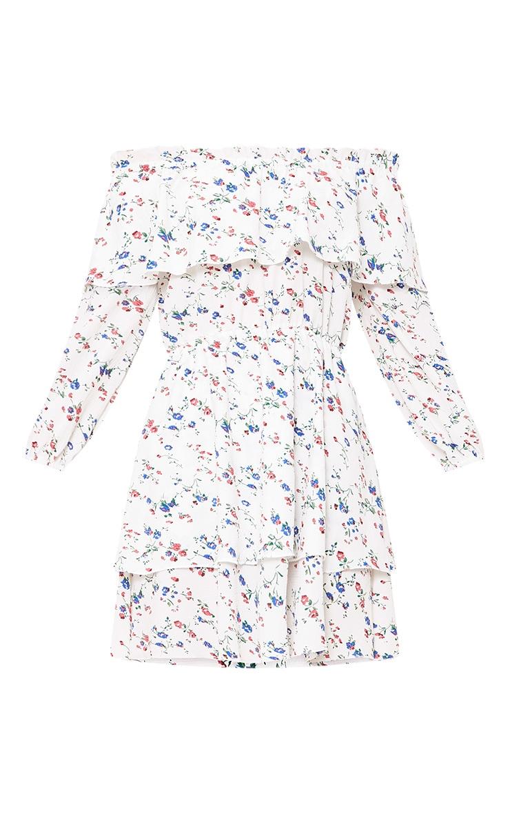 Veronia Floral Bardot Shift Dress White 3
