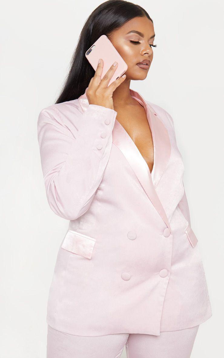 Plus Light Pink Longline Satin Mix Blazer 1