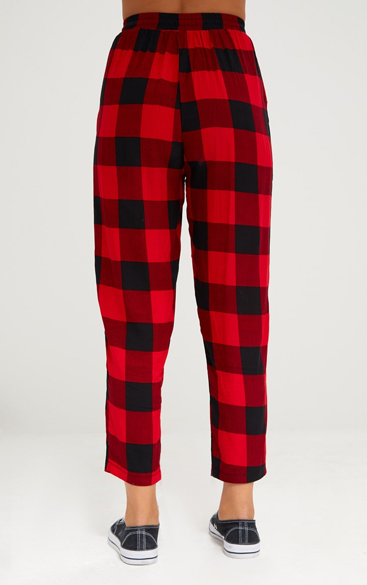 Red Check Casual Trousers 4