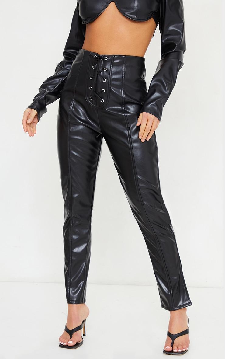 Petite Black Lace Up Detail Split Hem Faux Leather Trouser 2