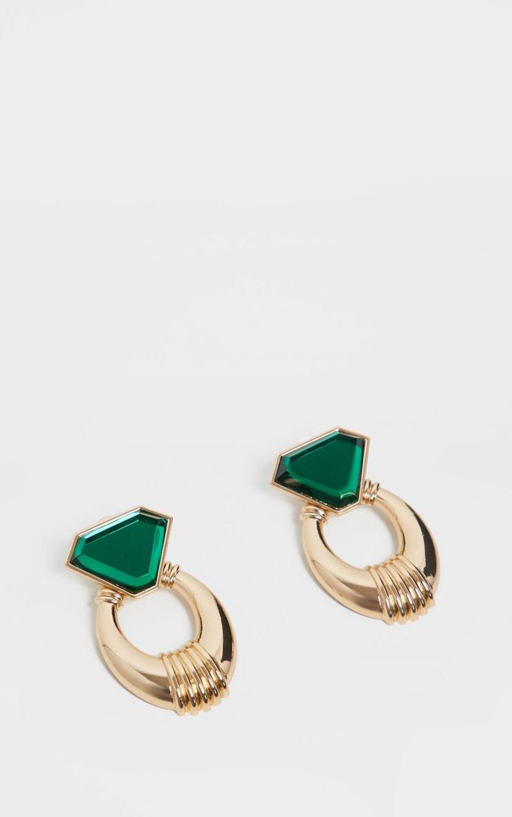 Gold and Emerald Green Gemstone Chunky Earrings 2