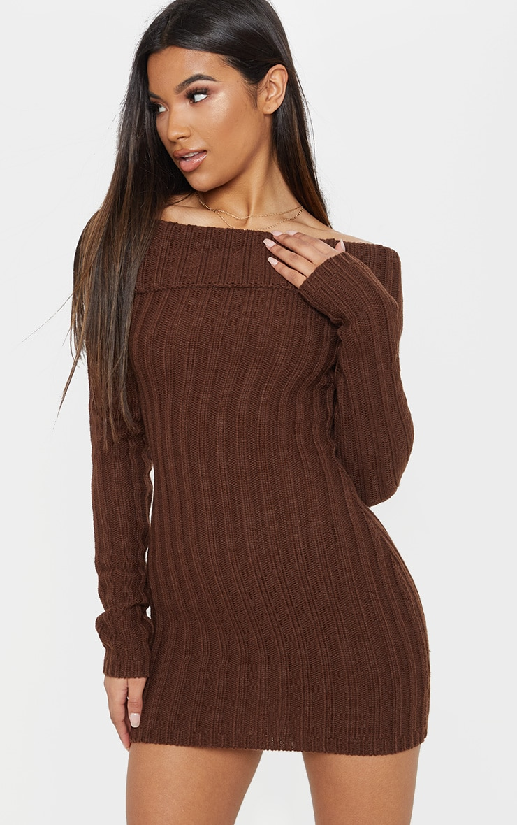 Chocolate Chunky Knitted Bardot Dress  1