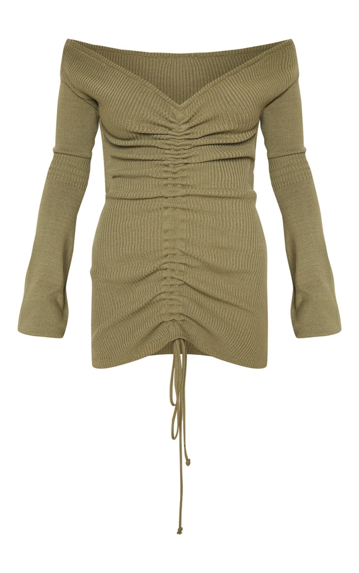 Khaki Ruched Knit Dress  3