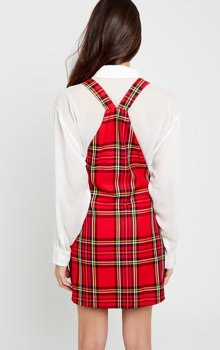 Ayana Red Tartan Pinafore Dress 2