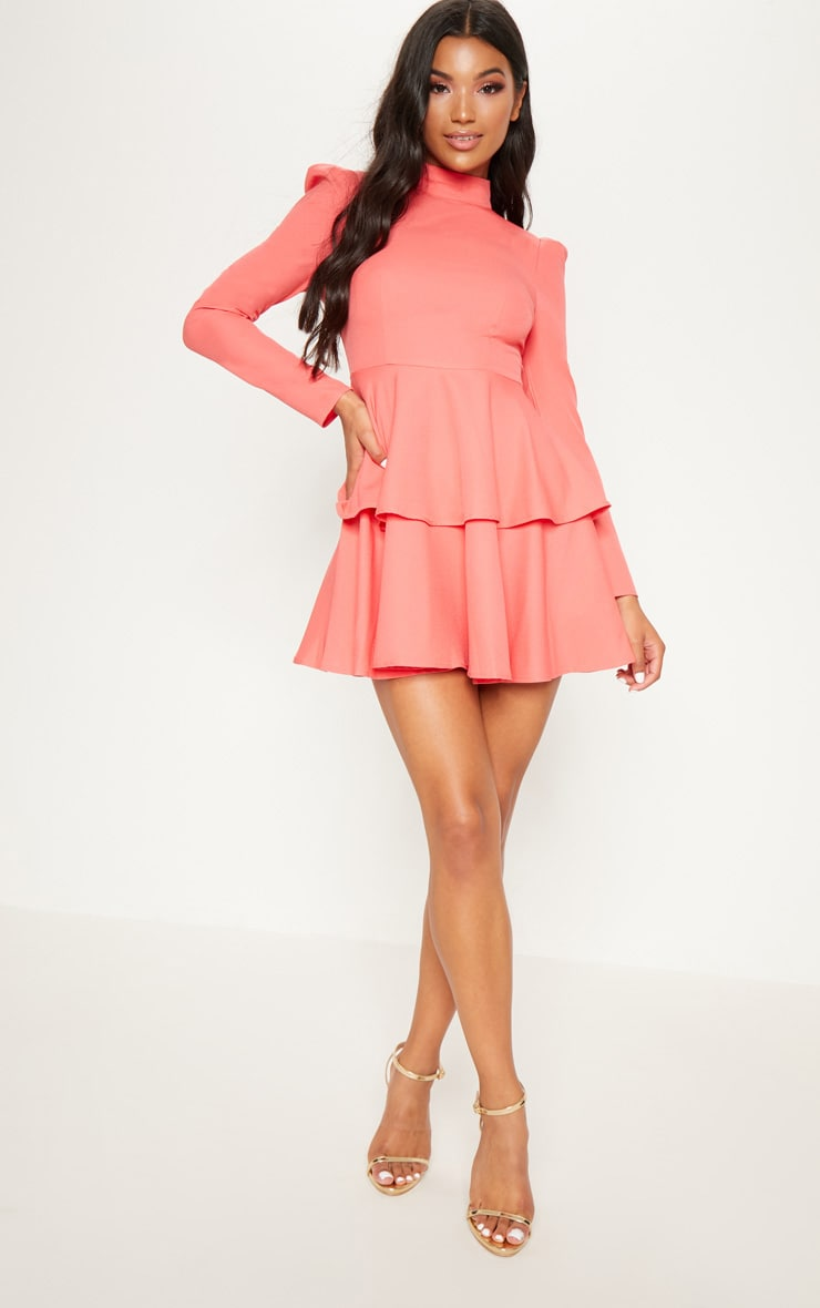 Coral High Neck Tiered Skater Dress 4